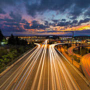 Seattle Freeway Light Trails Art Print