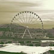 Seattle Great Wheel And Pier 57 Art Print