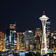 Seattle Night Sky Art Print