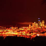 Seattle Night Traffic Too Art Print