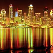 Seattle Panorama Reflection In Elliot Bay Art Print by Tim Rayburn