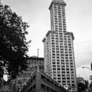 Seattle - Pioneer Square Tower Bw Art Print
