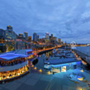 Seattle Skyline From The Waterfront At Blue Hour Art Print