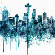 Seattle Skyline Monochrome Watercolor Art Print