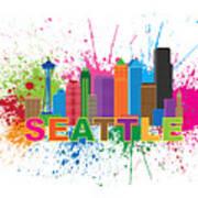 Seattle Skyline Paint Splatter Text Illustration Art Print