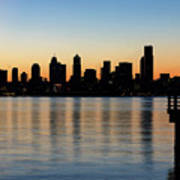 Seattle Skyline Silhouette At Sunrise From The Pier Art Print