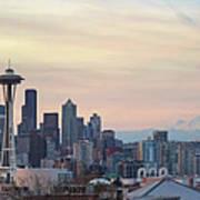 Seattle Skyline With Mount Rainier During Sunrise Panorama Art Print