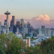 Seattle Washington City Skyline At Sunset Art Print