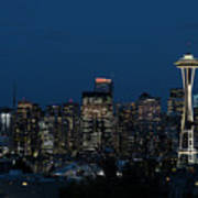 Seattle Washington Space Needle And City Skyline At Night Art Print