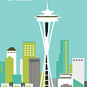 Seattle Washington Vertical Skyline - Teal Art Print
