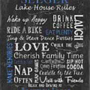 Seeger Lake House Rules Art Print