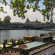 Seine Barges In Paris In Spring Art Print
