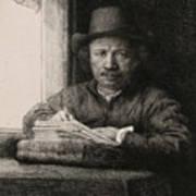 Self-portrait Drawing At A Window Art Print