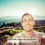 Self Portrait From A Mountain Top Art Print