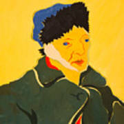 Self Portrait With Bandaged Ear. After Vincent Van Gogh Art Print