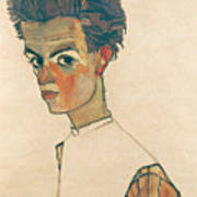 Self-portrait With Striped Shirt Art Print