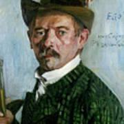 Self Portrait With Tyrolean Hat Art Print