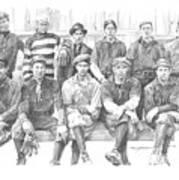 semipro baseball 1908 CO railroad pencil portrait Art Print