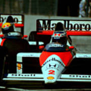Senna Chasing Prost ... Art Print