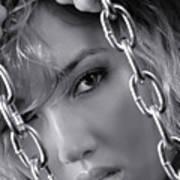Sensual Woman Face Behind Chains Art Print