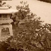 Sepia Japanese Garden Art Print