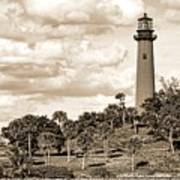 Sepia Lighthouse Art Print