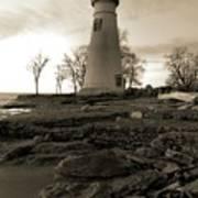 Sepia Marblehead Lighthouse Art Print
