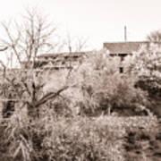 Sepia-toned Blooming Almond Trees Of Fikardou Village 1 Art Print