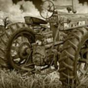 Sepia Toned Old Farmall Tractor In A Grassy Field Art Print