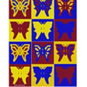 Serendipity Butterflies Brickgoldblue 1 Art Print
