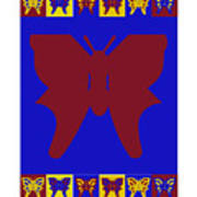 Serendipity Butterflies Brickgoldblue 7 Art Print
