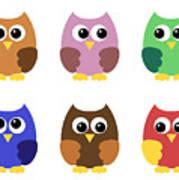 Set Of Six Little Owlets Art Print