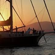 Set Sail On The Aegean At Sunset Art Print