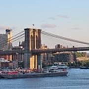 Setting Sun On Brooklyn Bridge Art Print