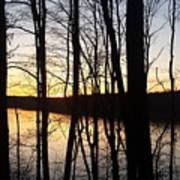Setting Sun On Monroe Lake Bloomington Indiana Art Print