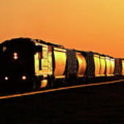 Setting Sun Reflecting Off Train And Track Art Print