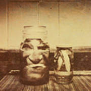 Severed And Preserved Head And Hand In Jars Art Print