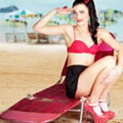 Sexy Beach Pin Up Girl Wearing High Heels Art Print
