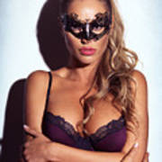 Sexy Glamorous Woman Wearing A Mask Art Print