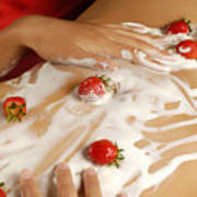 Sexy Nude Woman Body Covered With Cream And Strawberries Print by Oleksiy Maksymenko