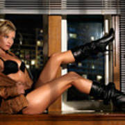 Sexy Woman In Lingerie Sitting On A Window Sill Art Print