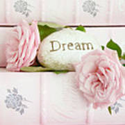 Shabby Chic Cottage Pink Roses On Pink Books - Romantic Inspirational Dream Roses  Art Print