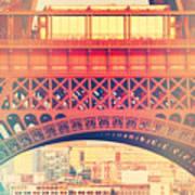 Shabby Chic Eiffel Tower Paris Art Print