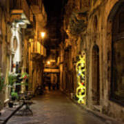 Shabby Chic - Small Street Night Walk In Syracuse Sicily Art Print