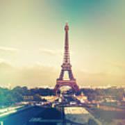 Shabby Chic Vintage Style Eiffel Tower Paris Art Print