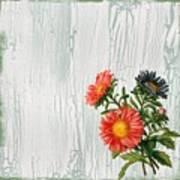 Shabby Chic Wildflowers On Wood Art Print
