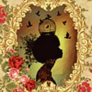Shabby Fae Silhouette  Golden Art Print