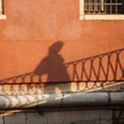 Shadow Of A Person Crossing The Shadow Of A Bridge In Venice Art Print