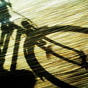Shadow Of A Person Riding A Bicycle Art Print by Sami Sarkis