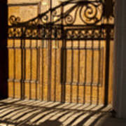 Shadows On A Wood Door Art Print